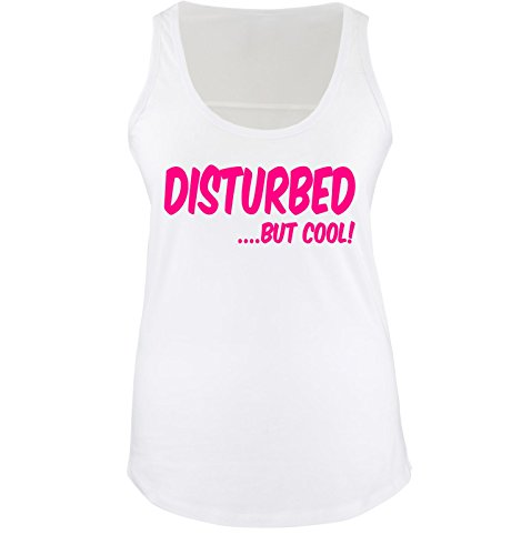 Comedy Shirts - DISTURBED BUT COOL! - Donna Tank Top canottiera - bianco / fucsia taglia XL