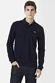 Long Sleeve Color Block Pique Polo Shirt
