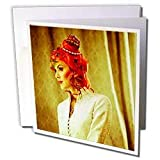 Jos Fauxtographee Folks - Seventies hunting color about a girl with red hair modeling - Greeting Cards-12 Greeting Cards with envelopes
