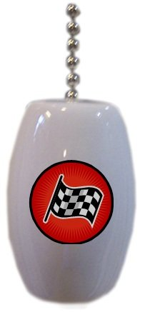 Checkered Flag Ceramic Fan Pull front-925833
