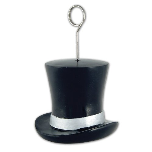 Top Hat Photo/Balloon Holder (black & silver) Party Accessory  (1 count)