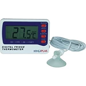 Digital Fridge/Freezer Thermometer - large display and dual sensors (battery not included)