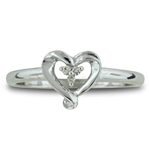 Three Stone Diamond Heart Shape Promise Ring in Sterling Silver Size 6