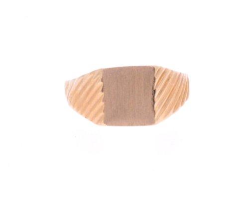 14K Yellow Gold Ribbed Signet Ring