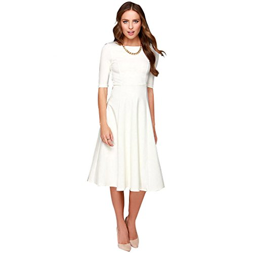Dantiya Women's Half Sleeve Elegant Back Zipper A-Line Knee Long Dress, Small, White