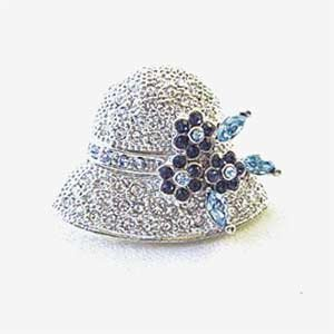 Platinum-Plated Blue & White Swarovski Crystal Hat Design Brooch/Pin - Gift Boxed