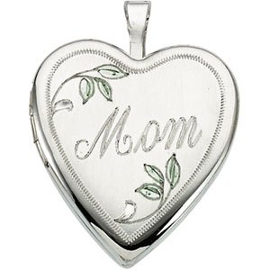 Sterling Silver 21.00X19.25 MM Mom Locket With Color Ring Size 6
