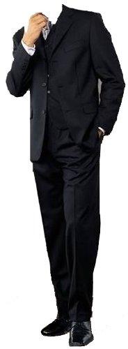 MUGA mens Suit + Waistcoat, Black, size 40S (EU 26)