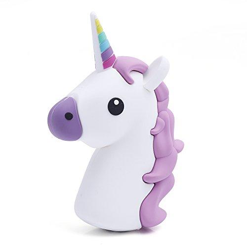 iProtect Powerbank Emoji da 2000mAh - Caricabatteria Esterno a forma di Unicorno Bianco e Viola per Smartphones e dispositivi con connettore USB - Cavo ricarica Micro USB incluso