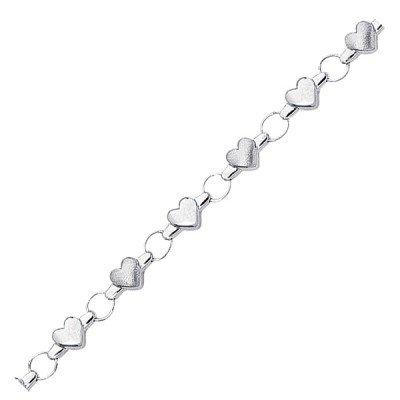 14k White Gold Childrens Heart Link Bracelet