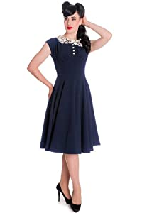 Hell Bunny EMILLIE Vintage 40s Lace Collar DRESS / Kleid - Navy Rockabilly