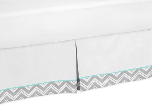 Turquoise and Gray Chevron Zig Zag Bed Skirt for Toddler Bedding Sets by Sweet Jojo Designs - 1