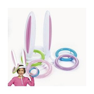 Inflatable Easter Bunny Ears Rabbit hat Ring Toss party Game from FUN