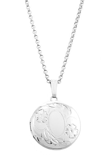 Silver Engravable Designed Round Locket Necklace