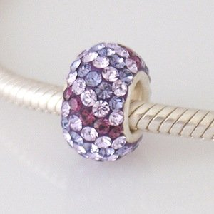 Purple / Lilac Swirl - Swarovski Crystal Discoball - Sterling Silver Core Charm Bead - fits Pandora, Chamilia etc style Bracelets - SpangleBead