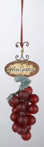 Tuscan Winery Red Grape Bunch Wine Goddess Ornament