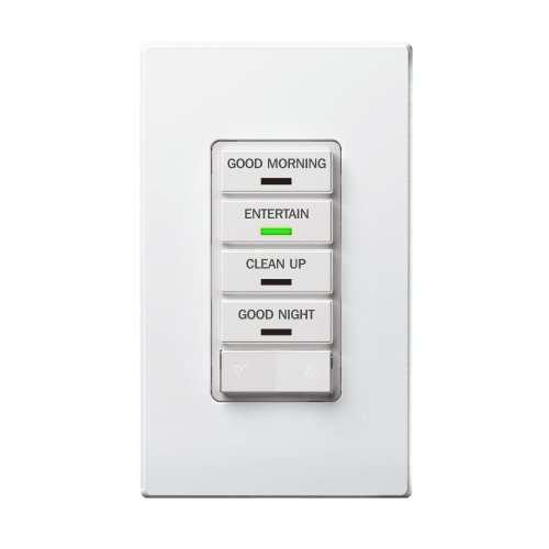 Leviton Vrcs4-1Lx Vizia Rf + 4-Button Scene Controller For Multi-Location Control With Ir Remote Capability, White/Ivory/Almond