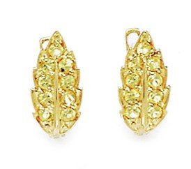 14ct Yellow Gold November Birthstone Yellow CZ Leaf Leverback Earrings - Measures 14x7mm