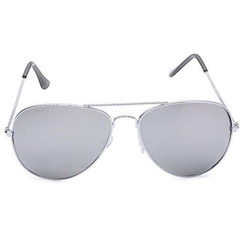 Uomo Donna Unisex Occhiali da sole Cool estate in metallo a goccia color specchi Rana Film Lens Occhiali da sole bianco White w/ Silver Frame