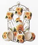 SUNFLOWER 9pc TEA Set Pot & Cups w/Iron Rack NEW!