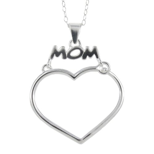 Sterling Silver Open Heart Mom Pendant Necklace, 18
