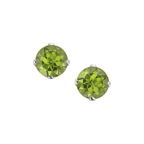 14K White Gold Prong Set 3 MM Peridot Earring Studs