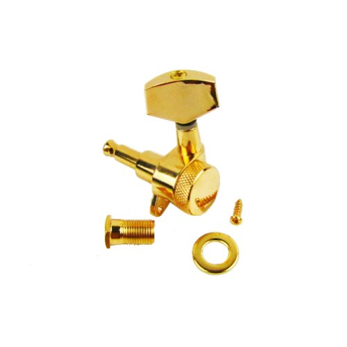 Musiclily 6 In-Line Set Of 6R Big Button Locking Guitar Tuning Keys Pegs Tuners Machine Head, Gold