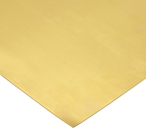 260 Brass Sheet, Unpolished (Mill) Finish, H02 Temper, Meets ASTM B19/ASTM B36 Specifications, 0.010