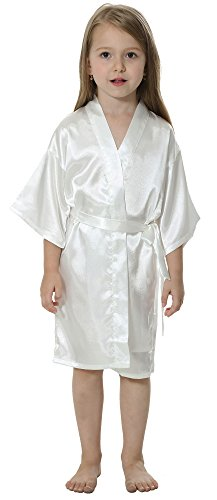 Joytton Kids' Satin Rayon Kimono Robe Bathrobe Nightgown (14,White)