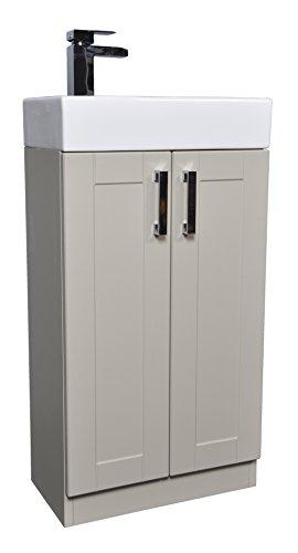 Grey Green Shaker 450mm Cloakroom Bathroom Vanity Unit Rectangular Basin Sink Tap - Left Hand Basin Waterfall Tap
