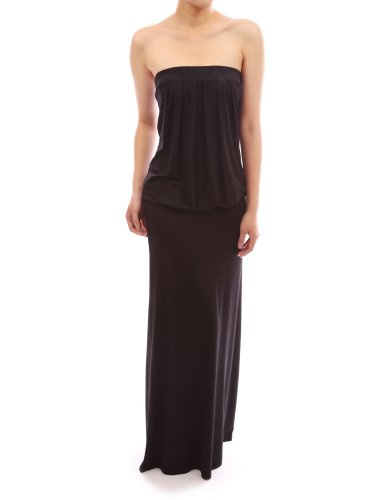 pattyboutik-women-s-strapless-pleated-blouson-maxi-dress-black-xl-