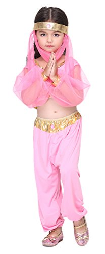 Biwinky Halloween Costumes Kids Girls Belly Dance Costume Indian Dance Wear M (Pink Dance Costume)