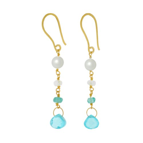 Pomegranate Vermeil Pearl, Crystal And Blue Topaz Beaded Earrings