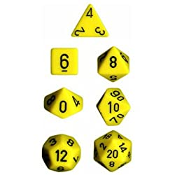 Chessex Dice: Polyhedral 7-Die Opaque Dice Set - Yellow with Black