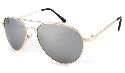 UrbanSpecs Silver Mirrored Aviator With Gold Lens