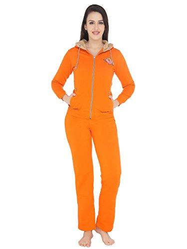 Valentine-Womens-Hood-Zipper-Top-Pyjama-Set-Orange