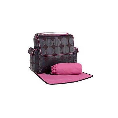 Black/char/pink Dot Messenger Bag By Oioi Baby