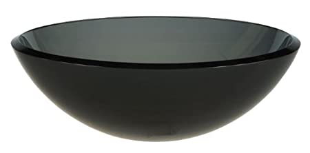 Ambassador Marine Half Sphere Glass Vessel Smoked Smooth Gray Glass Sink,16 1/2-Inch Diameter x 5 1/2-Inch Deep