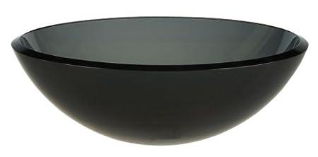 Ambassador Marine Half Sphere Glass Vessel Smoked Smooth Gray Glass Sink,16 1/2-Inch Diameter x 5 1/2-Inch Deep