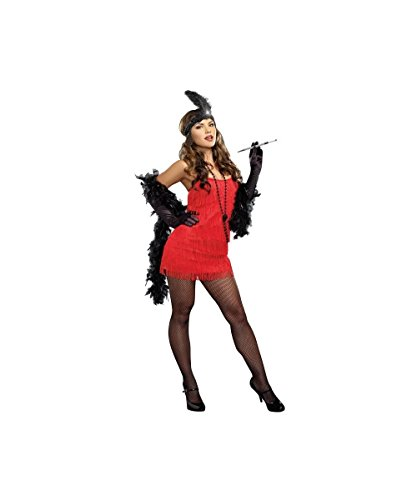 Roaring Red 1920s Twenties Sexy Flapper Womens Halloween Costume