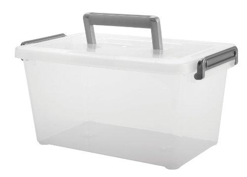 IRIS Medium Deep Modular Latching Box - Silver Handle, 6 Pack (Modular Stacking compare prices)