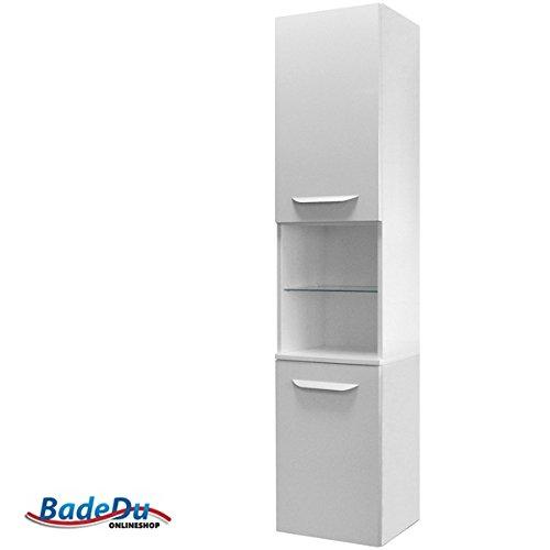 Fackelmann LAVELLA armadio alto a destra, colore: bianco lucido/bianco lucido/mobili da bagno