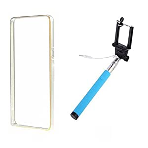 Dual Tone Circular Arc Shaped Metal Bumper Case Cover For SONY XPERIA Z1 With Skyblue Color Selfie Stick