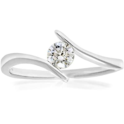 Ariel 18ct White Gold Crossover Engagement Ring, G/SI3 EGL Certified Diamond, Round Brilliant, 0.28ct