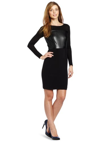 DKNYC Women's Long Sleeve System Dress  Faux