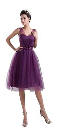 herafa p32348-2 Robes De Bal Style Romantique Col V Sans manche Décoré À La Main Avec Des Fleurs Et Perlage Délicat Au genou Princesse Violet