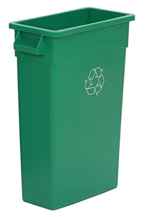 Continental Wall Hugger LLDPE Recycling Receptacle with Handles, Rectangular