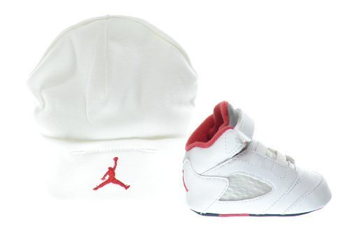 Jordan 5 Retro (GP) Infants Shoes Gift Pack White/Fire Red-Black 552494-100 (4 M US)