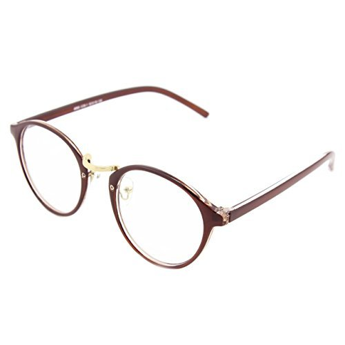 glasses-queen-201565-vintage-inspired-horned-rim-metal-bridge-clear-lens-eye-glassesbrown-by-glasses