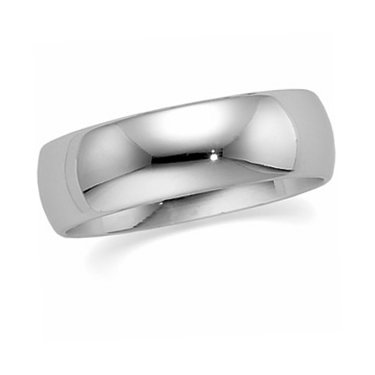 10K White Gold, Light Comfort Fit Wedding Band 6MM (sz 7)